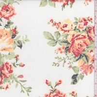 Ivory/Apricot/Sienna Floral Brushed French Terry Knit