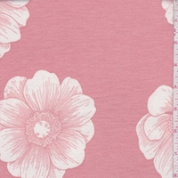 Dark Blush/White Floral Bloom Brushed French Terry Knit