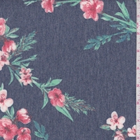 Heather Navy/Brick Floral Sprig Brushed French Terry Knit