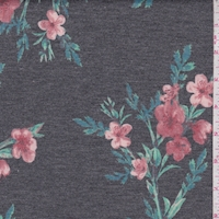 Heather Slate/Clay Floral Sprig Brushed French Terry Knit