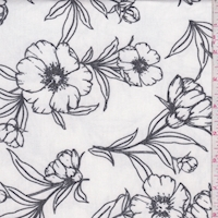 Ivory/Black Sketch Floral Brushed French Terry Knit