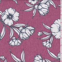Berry/White Sketch Floral Brushed French Terry Knit