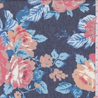 Heather Navy/Cocoa Peony Brushed French Terry Knit