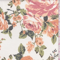 Ivory/Apricot Peony Brushed French Terry Knit