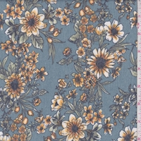 Dark Slate Blue Floral Brushed French Terry Knit