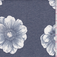Heather Navy/White Floral Bloom Brushed French Terry Knit