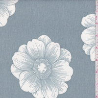 Heather Cloud Blue/White Floral Bloom Brushed French Terry Knit
