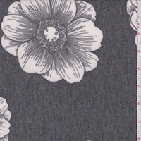 Heather Slate/White Floral Bloom Brushed French Terry Knit