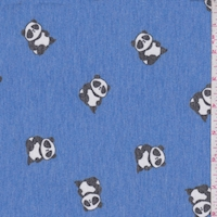 Heather Cobalt Blue Panda Brushed French Terry Knit