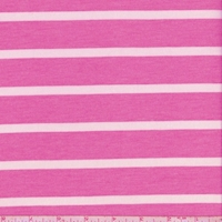 Deep Pink/White Stripe Brushed French Terry Knit