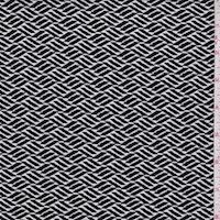 *1 YD PC--ITY Black/White Wicker Look Diamond Nylon Jersey Knit