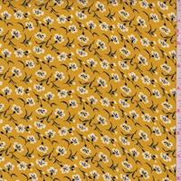 *1 YD PC--Mustard Tossed Floral Crepe