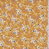 *1 YD PC--Harvest Gold Floral Crepe Georgette