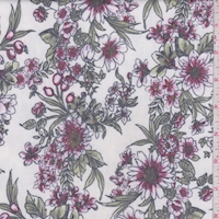 *1 YD PC--Ivory/Wine Floral Brushed French Terry Knit