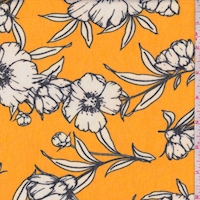 *1 YD PC--Orange Gold/White Sketch Floral Brushed French Terry Knit