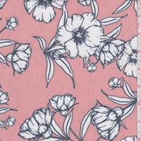 *1 YD PC--Clay Orange/White Sketch Floral Brushed French Terry Knit