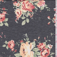 *1 YD PC--Heather Slate/Peach Rose Cluster Brushed French Terry Knit