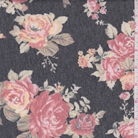 *1 YD PC--Heather Slate/Brick Rose Cluster Brushed French Terry Knit