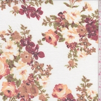 *1 YD PC--Ivory/Red/Apricot Floral Cluster Brushed French Terry Knit