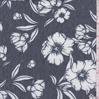 *1 YD PC--Heather Midnight Sketch Floral Brushed French Terry Knit
