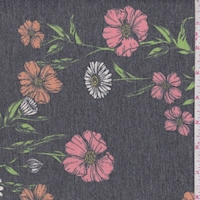 *1 YD PC--Heather Slate Multi Floral Stem Brushed French Terry Knit