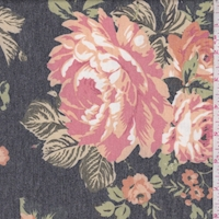 *1 YD PC--Heather Slate/Apricot Peony Brushed French Terry Knit