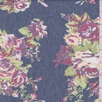 *1 YD PC--Heather Blue/Purple Rose Cluster Brushed French Terry Knit