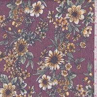 *1 YD PC--Heather Merlot Floral Brushed French Terry Knit