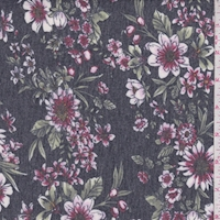 *1 YD PC--Heather Slate Floral Brushed French Terry Knit