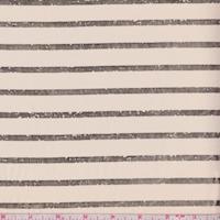 *1 YD PC--Blush Beige/Gold Foil Stripe Chiffon