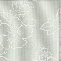*3 1/8 YD PC--White/Grass Green Stripe Floral Seersucker