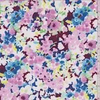 *3 YD PC--Aubergine Multi Sponge Floral Activewear/Swimwear