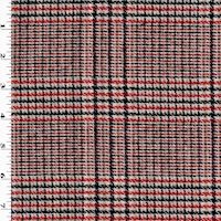 *2 3/4 YD PC--Red/White Multi Woven Plaid Wool Blend Jacketing