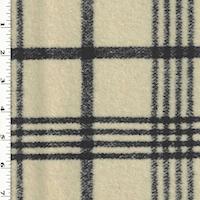 *2 1/4 YD PC--Antique Ivory/Black Wool Blend Plaid Doubleweave Coating