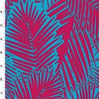 *1 5/8 YD PC--Tropical Blue/Magenta Leaf Printed ITY Swimwear Fabric