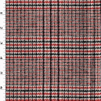 *4 3/4 YD PC--Red/Pink/Black Multi Woven Wool Blend Plaid Jacketing