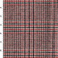 *3 YD PC--Red/Pink/Black Multi Woven Wool Blend Plaid Jacketing
