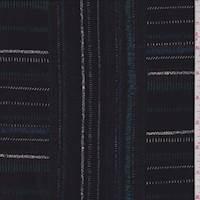 *3 3/8 YD PC--Black Multi Stitch Stripe Jersey Knit
