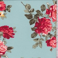 *3 1/2 YD PC--Robin Blue Rose Double Brushed Jersey Knit