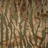*3 3/8 YD PC--Caramel/Olive Beige Zebra Burnout Velvet Knit