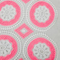 *1 1/2 YD PC--Neon Pink/White Medallion Lace