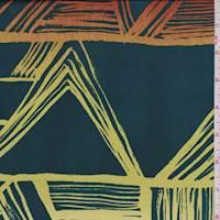 *2 YD PC--Dark Spruce Green Sketch Chevron Charmeuse