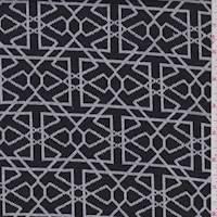 *5 1/4 YD PC--Black/White Geo Sketch Jacquard Double Knit
