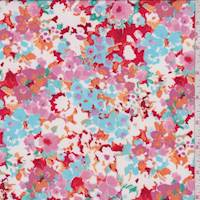 *5 YD PC--Bright Red Multi Sponge Floral Activewear/Swimwear