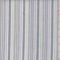 *1 7/8 YD PC--White/Blue/Grey Stripe Linen Look