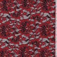 *3 YD PC--Crimson/Black Floral Stretch Lace