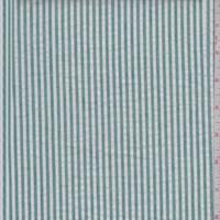 *6 3/8 YD PC--Kelly Green/White Cotton Stripe Seersucker