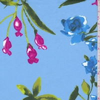 *1 YD PC--Periwinkle Tropical Floral Swimwear