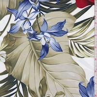*1 YD PC--White/Red/Blue Tropical Floral Swimwear