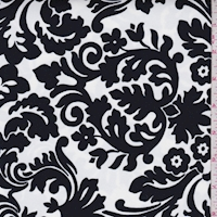 *1 YD PC--White/Black Damask Print Swimwear